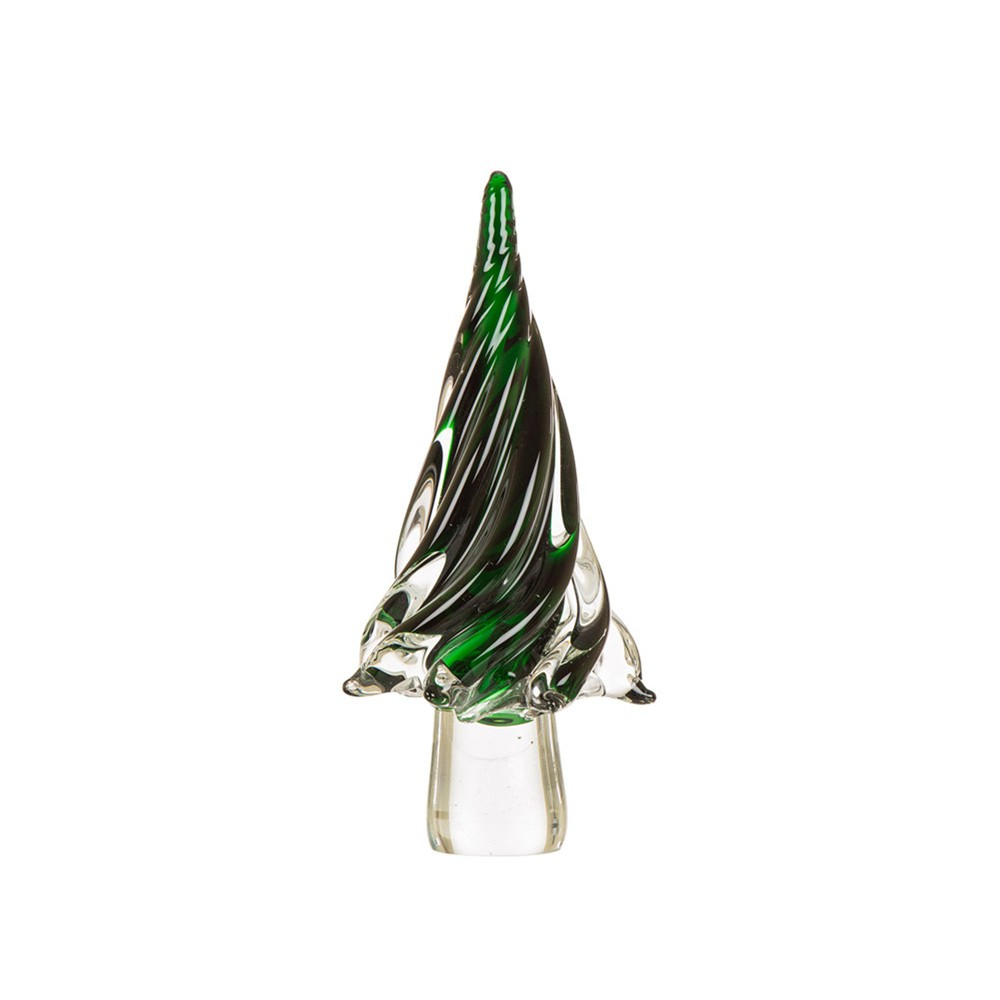 "Image of ""12"""" Large Glass Tabletop Christmas Tree Green - Glitzhome"""
