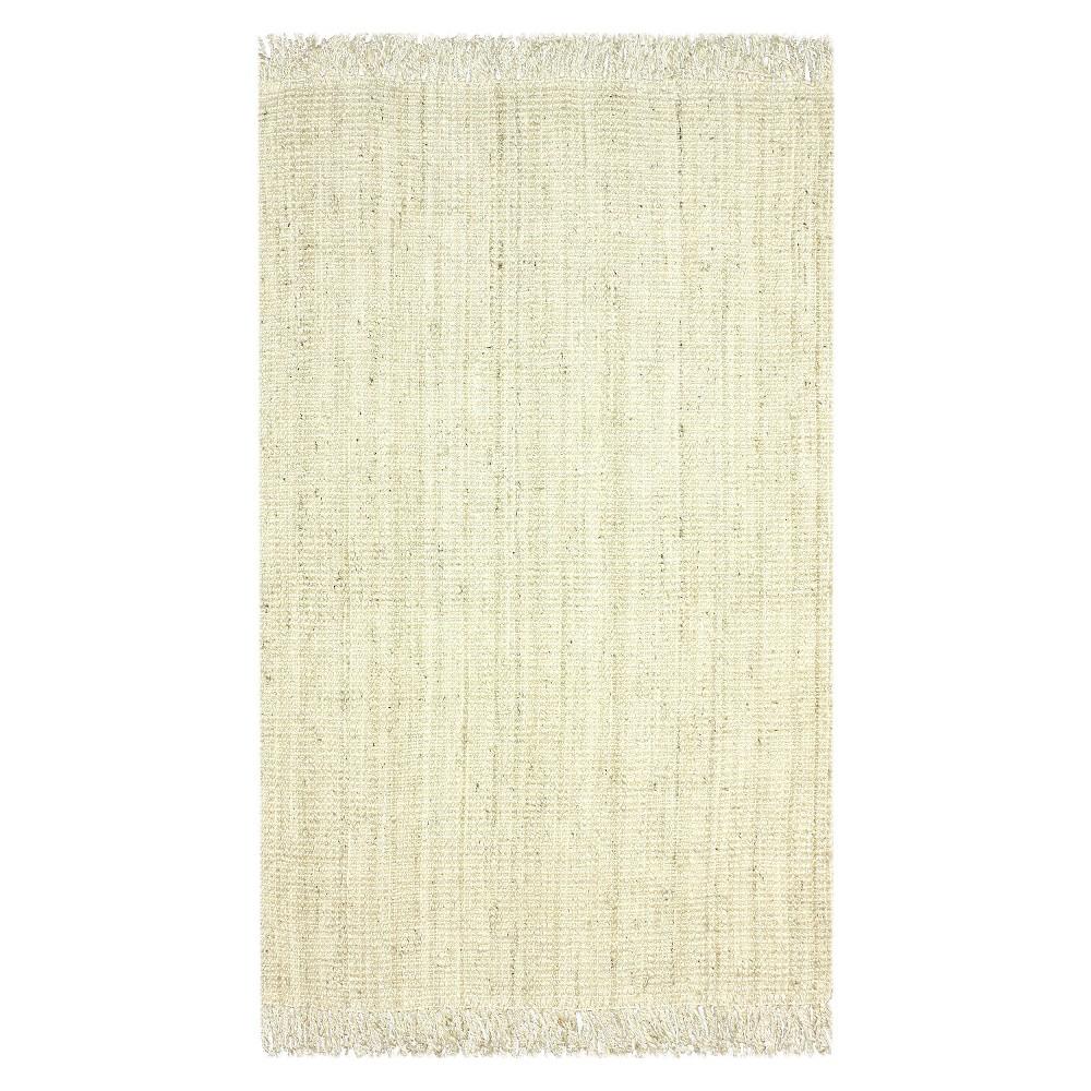 nuLOOM Jute Chunky Loop Jute Bleached Area Rug - White (7'6