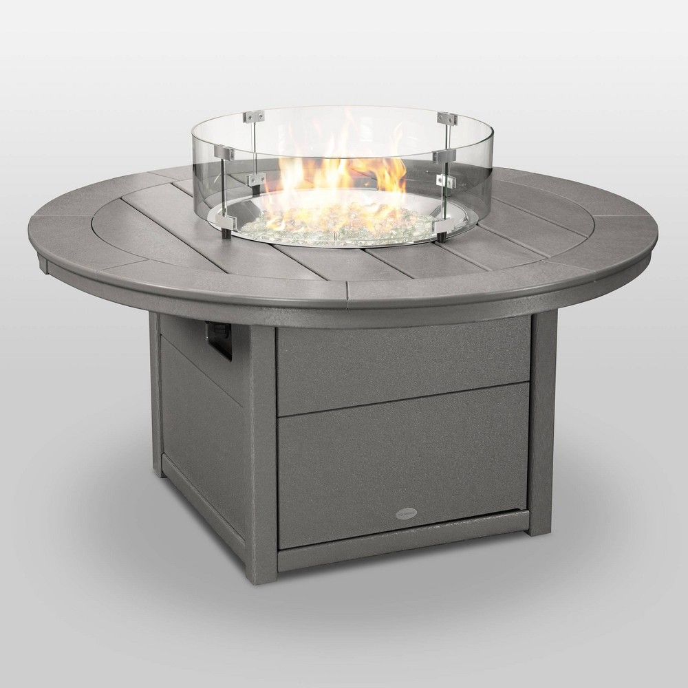 "Image of ""POLYWOOD Round 48"""" Outdoor Fire Pit Table - Gray"""