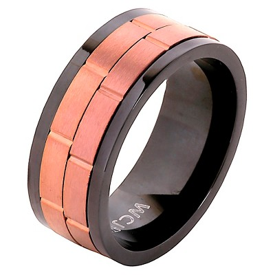 Men's West Coast Jewelry Coffee- Tone Two-Tone Stainless Steel Dual Spinner Ring (12)