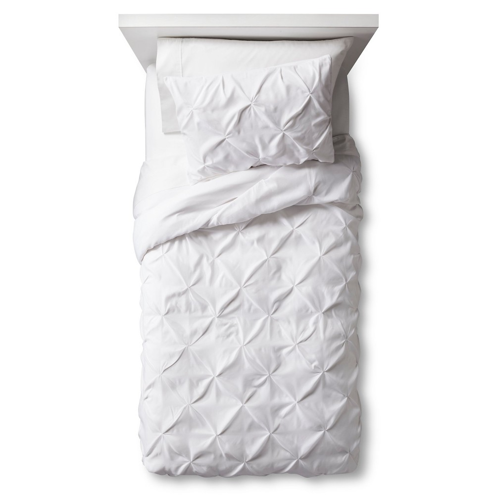 Pinch Pleat Duvet Cover Set Twin White 2pc - Pillowfort