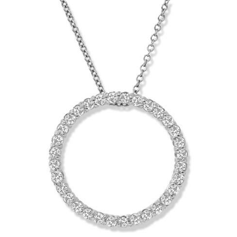 Pompeii3 14K White Gold 1/2ct Circle Of Life Diamond Pendant Necklace - image 1 of 3