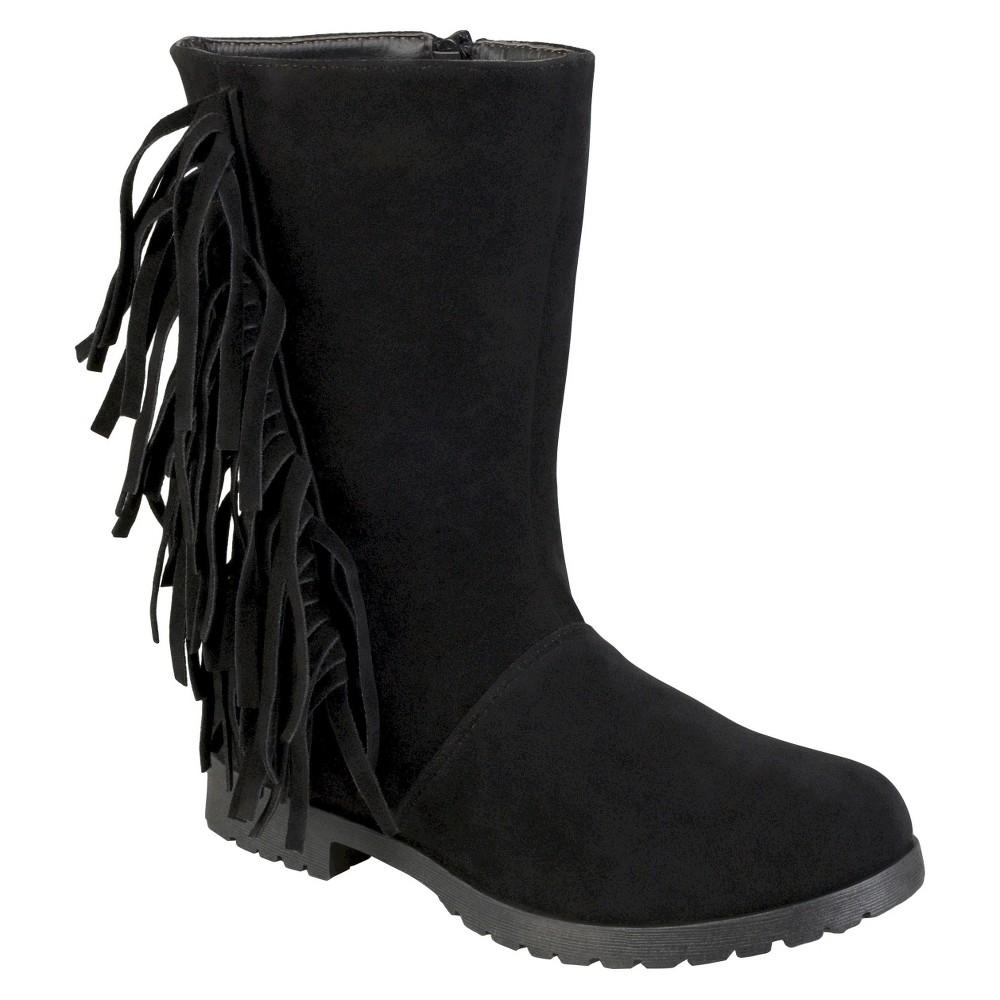 Girls' Journee Collection Luzie Round Toe Fringed Fashion Boots - Black 12
