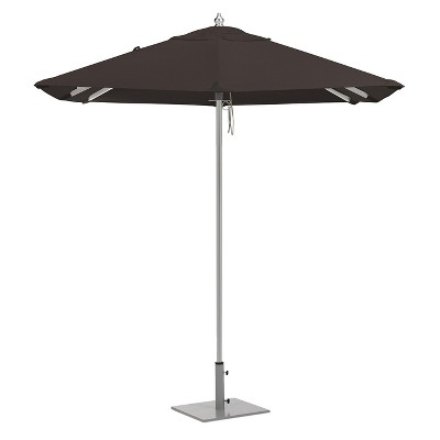 6.5u0027 Square Sunbrella Market Patio Umbrella   Brushed Aluminum Frame    Black Sunbrella Fabric Shade   Oxford Garden
