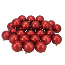 "Northlight 32ct Shatterproof Shiny Christmas Ball Ornament Set 3.25"" - Red"