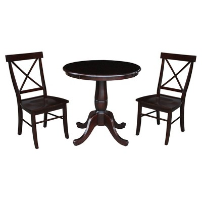 """30"""" Round Top Pedestal Table with 2 X Back Chairs Dining Sets - International Concepts"""