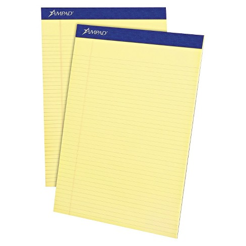Ampad® 8 1/2 x 11 3/4 Writing Pad, Narrow Rule, Micro Perfed- Canary (50-Sheets, 12 per Pack) - image 1 of 2