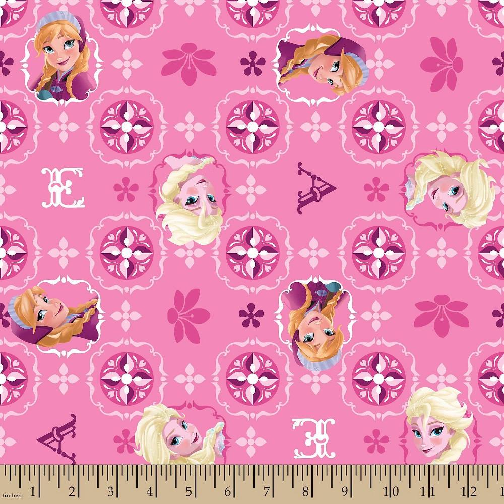 Frozen Sisters Cotton Glitter Fabric, Pink