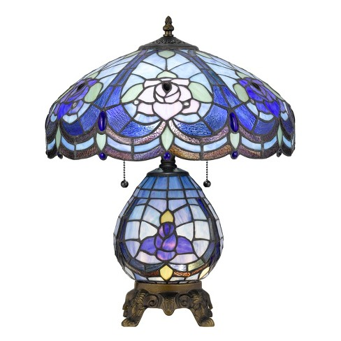 60W X 2 Tiffany Table Lamp With 7W Night Light Blue (Includes Energy Efficient Light Bulb) - Cal Lighting - image 1 of 2