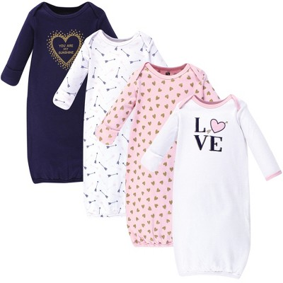 Hudson Baby Infant Girl Cotton Long-Sleeve Gowns 4pk, Love, 0-6 Months