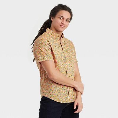 Men's Floral Print Regular Fit Short Sleeve Button-Down Shirt -  Goodfellow & Co™ Orange