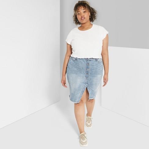 dec1a6b16df Women s Plus Size Button-Front Denim Midi Skirt - Wild Fable™ Medium Blue  Wash