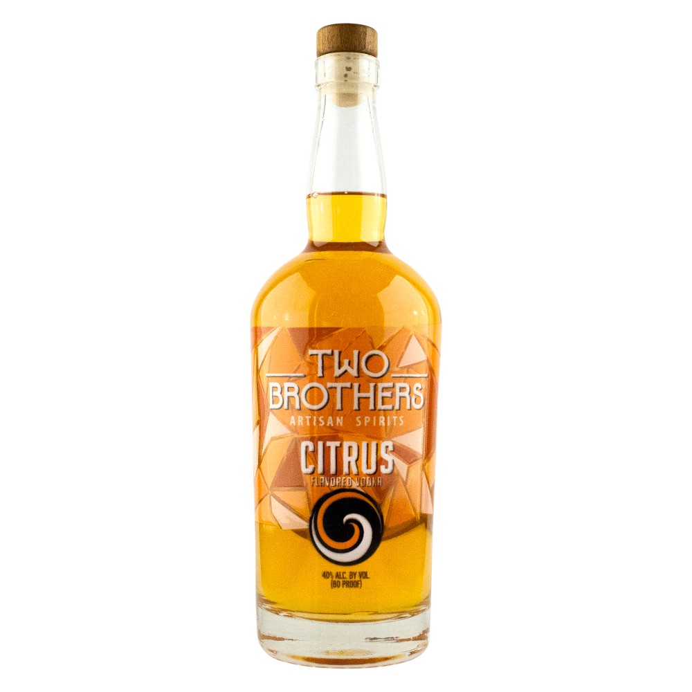Two Brothers Citrus Vodka - 750ml Bottle Two Brothers Artisan Spirits Citrus Vodka takes this recognized spirit up a few notches, pushing for a more complex and rich flavor. Rather than simply adding orange peel, we use a week-long process to infuse our vodka with a full citrus profile. The true citrus character shines through and blends seamlessly across a wide array of cocktails. Also pairs well with hoppy beers.
