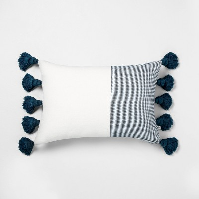 "14"" x 20"" Textured Colorblock Lumbar Pillow Navy / Sour Cream - Hearth & Hand™ with Magnolia"