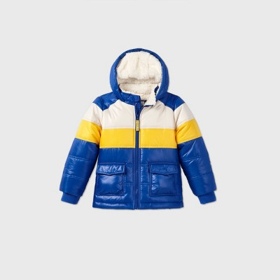 Toddler Boys' Colorblock Puffer Jacket - Cat & Jack™ Blue/Yellow/White 4T