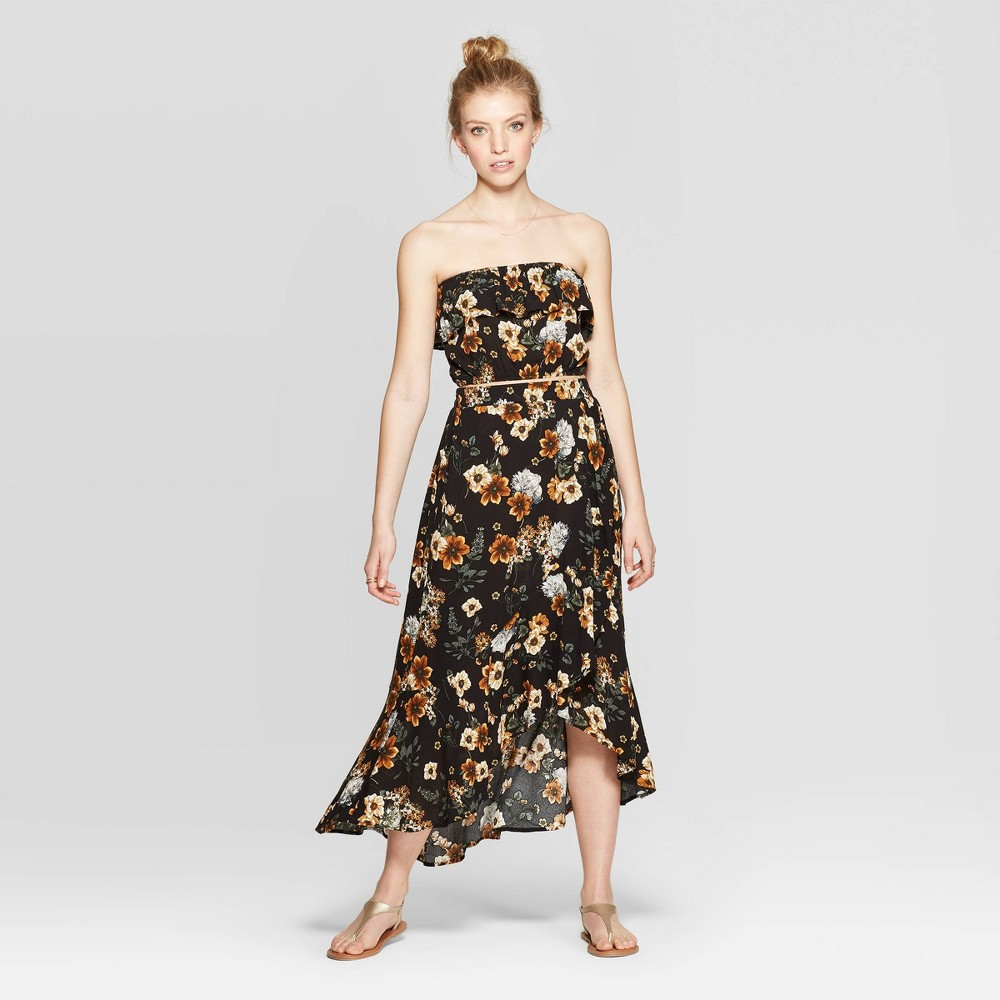 Image of Women's Floral Print Wrap Front High Low Hem Skirt - Xhilaration Black L, Size: Large