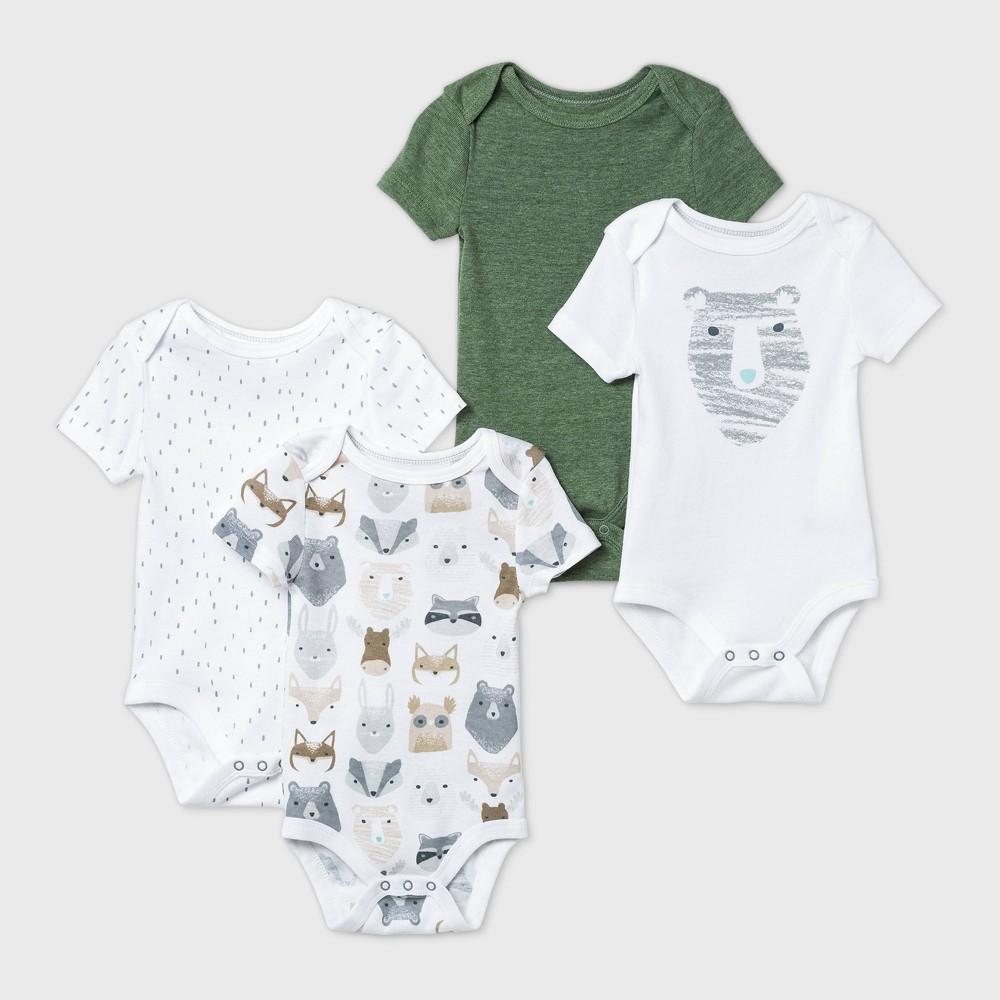 Baby Boys 39 4pk Little Cub Short Sleeve Bodysuit Cloud Island 8482 Olive Green White Preemie