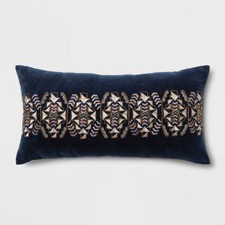 Geometric Decorative Filled Oversize Lumbar Throw Pillow Indigo - Rizzy Home