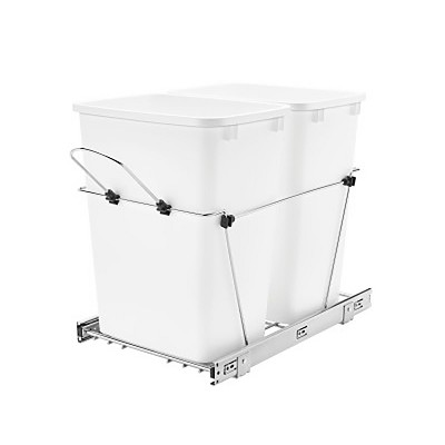 Rev-A-Shelf RV-18KD-11C-S Double 35-Quart Chrome Wire Bottom Mount Pullout Kitchen Waste Trash Can Container Bin with Full-Extension Slides, White