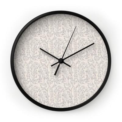 Holli Zollinger Poppy Grey Round Black Wall Clock - Deny Designs