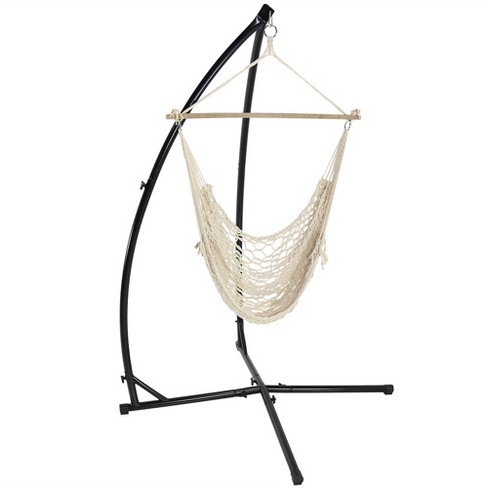 Cotton Rope Hammock Chair and X-Stand - Off-White - Sunnydaze Decor - image 1 of 6