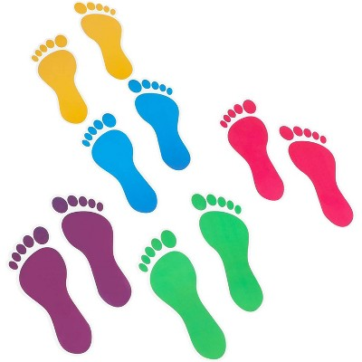 Bright Creations 32 Pairs Colorful Kids Footprint Decal Stickers for Classroom Decor (7.1 x 2.5 in)