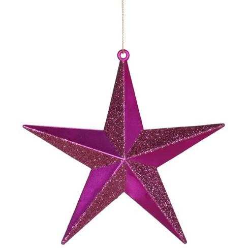 Vickerman Cerise Pink Matte Glitter Shatterproof Star Christmas Ornament 6