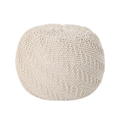 Hershel Knitted Cotton Pouf Beige - Christopher Knight Home