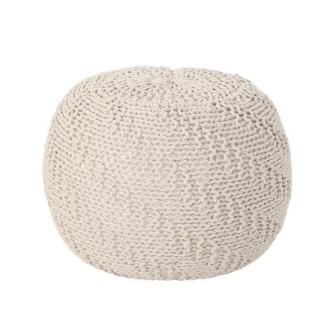 Hershel Knitted Cotton Pouf - Christopher Knight Home - image 1 of 4