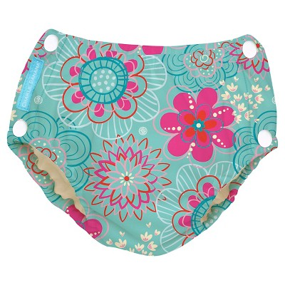 Charlie Banana Reusable Easy Snaps Swim Diaper, Floriana - M