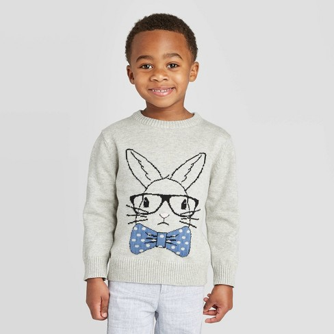 Toddler Boys' Crew Neck Bunny Pullover Sweater - Cat & Jack™ Heather Gray 18M - image 1 of 3