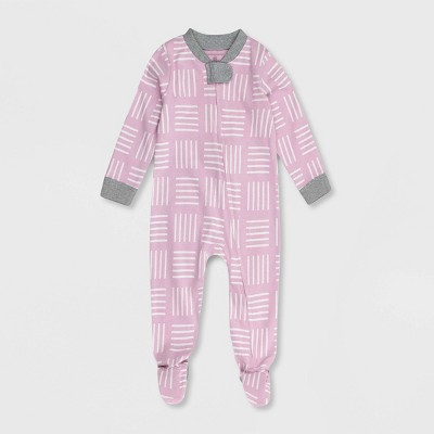 Honest Baby Girls' Square Print Footed Pajama - Purple