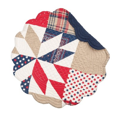 C&F Home Levi Patriotic Cotton Quilted Round Reversible Placemat Set of 6
