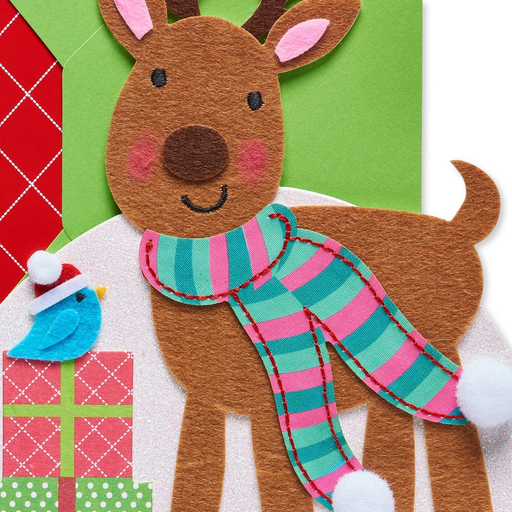 Diecut Reindeer Card - Papyrus, Multi-Colored