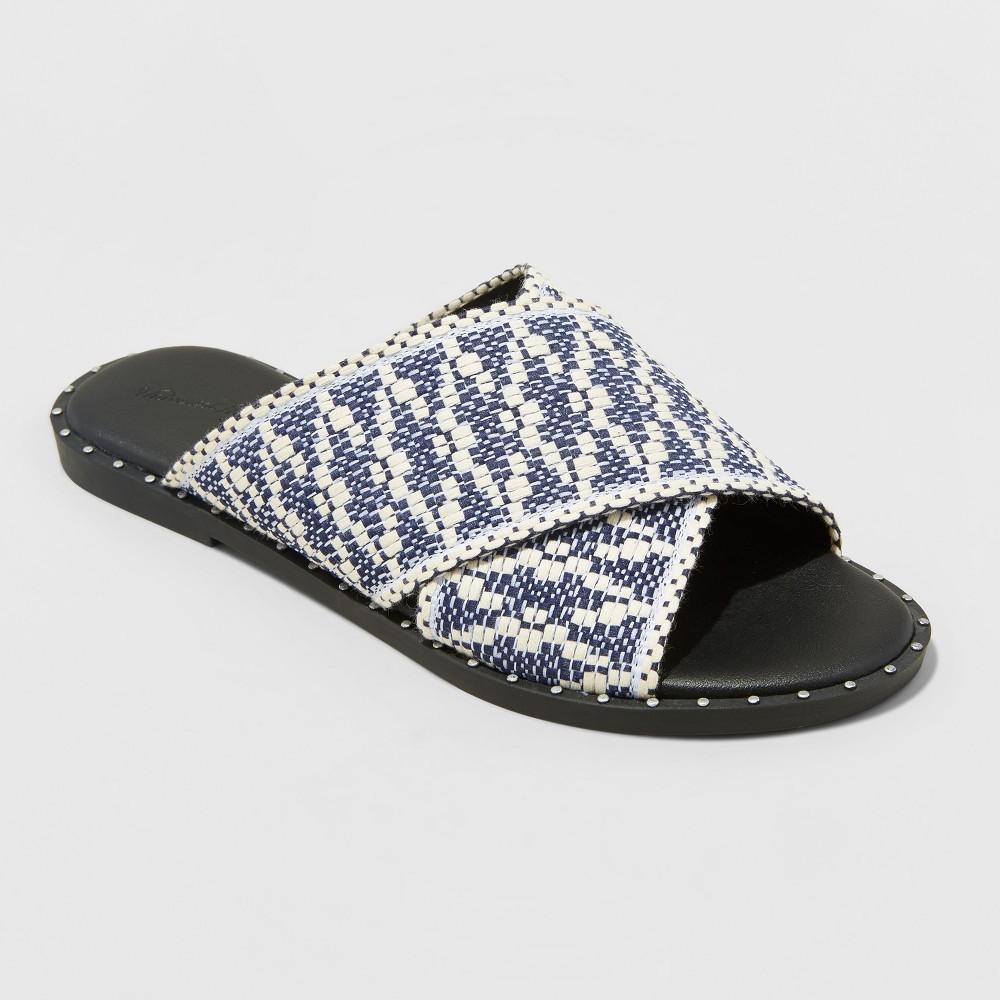 Women's Kyleigh Wide Width Cross Band Slide Sandals - Universal Thread Navy (Blue) 5.5W, Size: 5.5 Wide