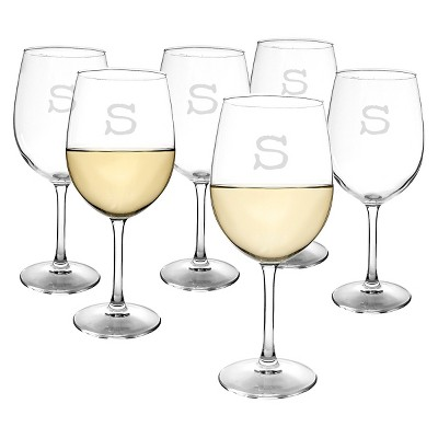 Cathy's Concepts Personalized 12 oz. White Wine Glasses (Set of 6)-S