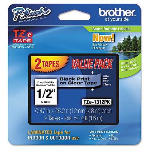Brother P-Touch TZe Standard Adhesive Laminated Labeling Tapes - Black (2 Per Pack) - image 1 of 1
