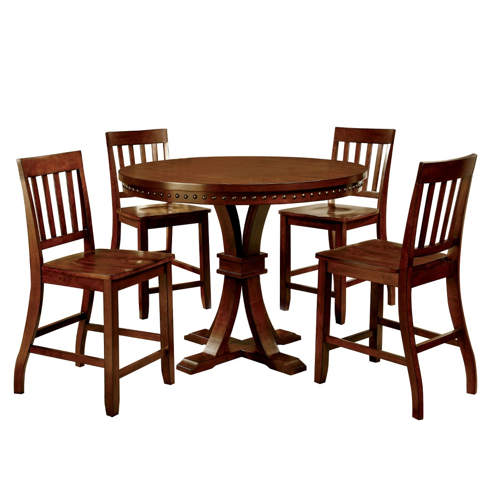 Image of 5pc Crayton Nailhead Trimmed Pedestal Counter Dining Table Set Dark Oak - ioHOMES