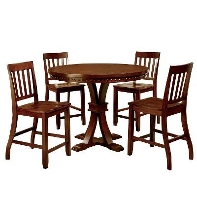 Sun u0026 Pine 5pc Nail Head Trimmed Pedestal Counter Dining Table Set Wood/Dark Oak  Target  sc 1 st  Target & Sun u0026 Pine 5pc Nail Head Trimmed Pedestal Counter Dining Table Set ...