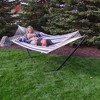 Nautical Stripe Quilted Double Fabric Hammock with 12' Stand - Blue/Red/White - Sunnydaze Decor - image 3 of 4