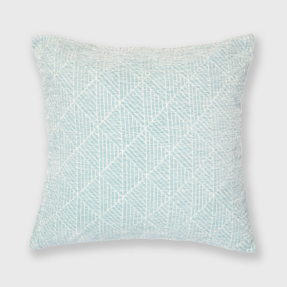 "Image of ""18""""x18"""" Geometric Chenille Woven Jacquard Throw Pillow Sterling Blue - Freshmint"""