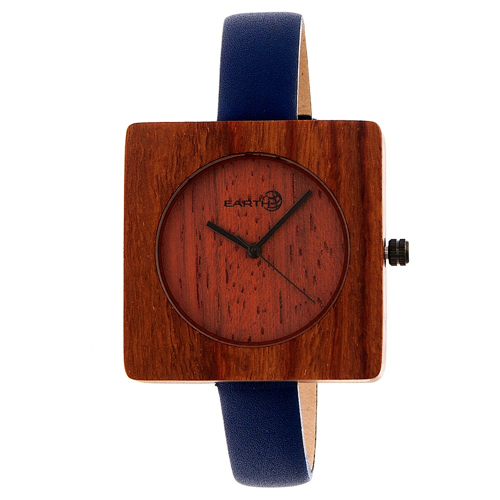 Earth Wood Women's Teton Leather Strap Watch - Red, Navy