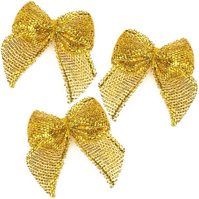 "350pcs Mini Satin Ribbon Bow Flowers with Self-Adhesive Tape for DIY Crafts, Sewing, Scrapbooking and Gift (Gold, 1.5"")"
