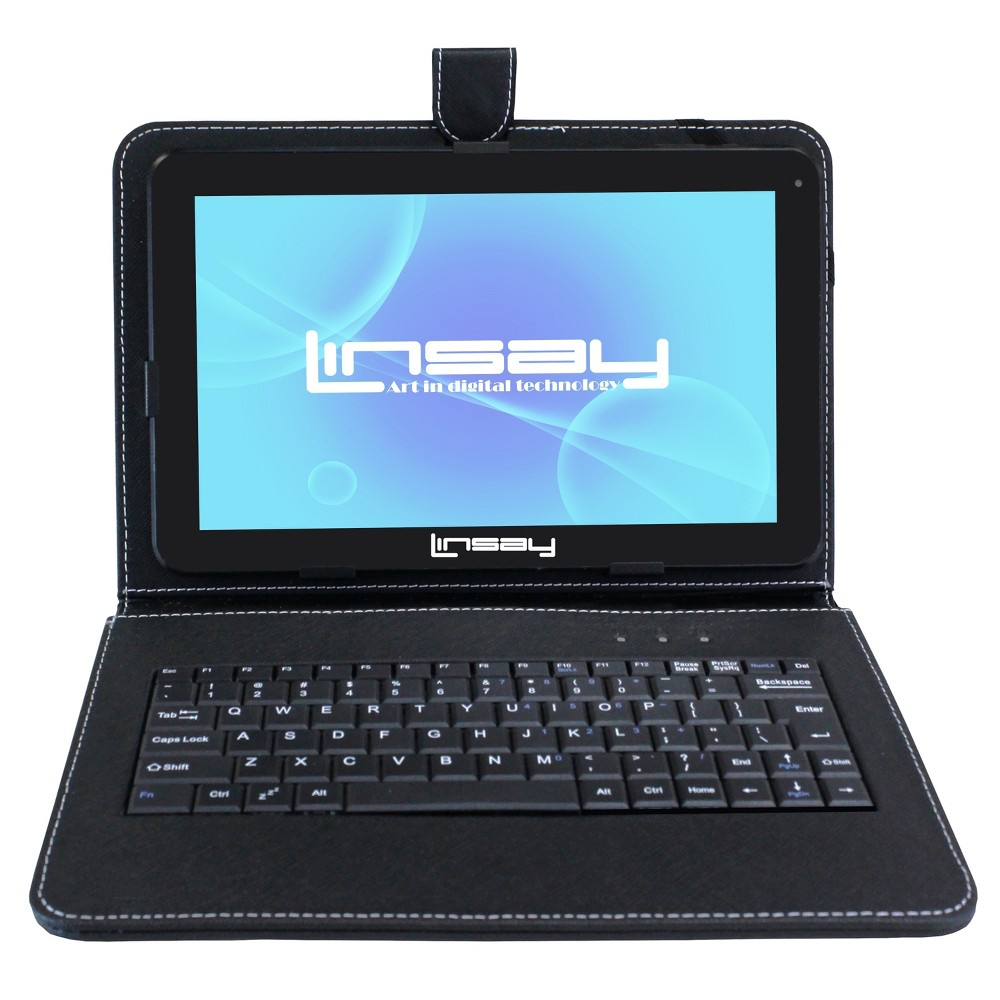 Linsay 10.1 1024x600 HD Quad Core 16GB Internal Memory Tablet with Black Keyboard Case
