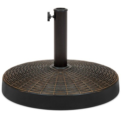 Best Choice Products 55lb Round Wicker Style Resin Patio Umbrella Base Stand w/ 1.75in Hole, Bronze Finish - Black