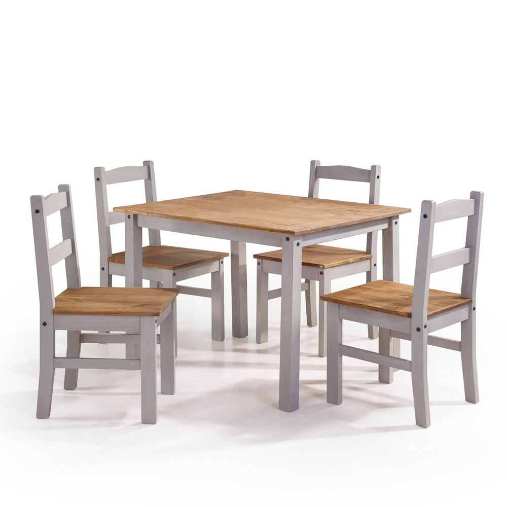 5pc York Solid Wood Dining Set Wash Gray - Manhattan Comfort
