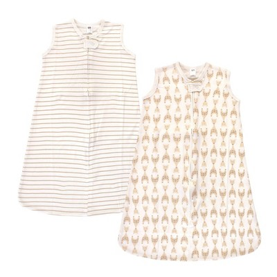Hudson Baby Unisex Baby Interlock Cotton Sleeveless Sleeping Bag - Neutral Giraffe 6-12M