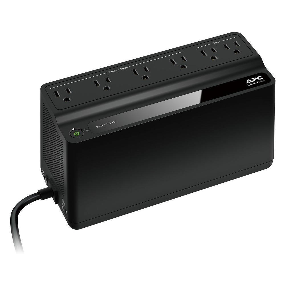 Schneider Apc Back - Ups Surge Protector - Black (BN450M) Designed specifically to enhance the features that matter most to you The Apc Back-Upstm BN450M optimizes home and small business uninterruptible power supplies (Ups) by focusing on the most critical aspects of power protection: * More Runtime: Power your critical electronics for longer than ever before; the BN450M is capable of powering your wireless networking equipment (router and modem) for over 2 hours after safely shutting down high powered equipment. * More Battery Backup Outlets: Power more of your critical electronics during a power outage; the BN450M has enough outlets to power up to 4 devices at once. * Smaller and Lighter: The new BN450M is smaller and lighter than previous models, allowing you to easily relocate and position your Ups in any environment. Never let a power disruption interrupt your life again, with the new Apc Back-Ups powering your critical electronics, you can: • Check email • Stream movies and TV shows • Make phone / video calls • Check and update social media • Continue gaming • Maintain home automation and security systems Extended runtime for high and low powered devices • Wireless router • Broadband modem • Mobile devices • Structured wiring closet • Voice-over IP (Voip) phone • Automation hub • Wi-Fi home security camera • Desktop computer • Television • Security system • Gaming console • Monitor Color: Black.
