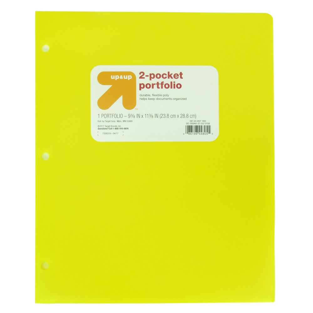 2 Pocket Plastic Folder Yellow - Up&Up was $0.75 now $0.5 (33.0% off)