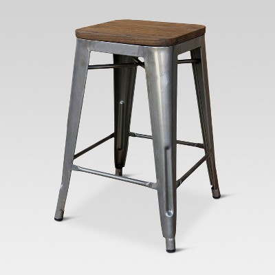 "24"" Hampden Industrial Wood Top Counter Stool - Threshold™"